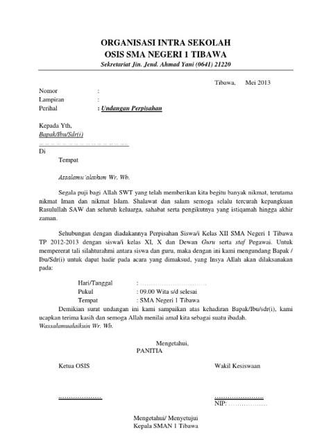 Contoh Surat Undangan Perpisahan SMA , SMP , SD Terbaru 2020